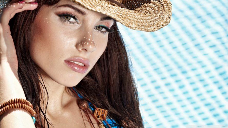 FACE - girl women brunette hat wallpaper