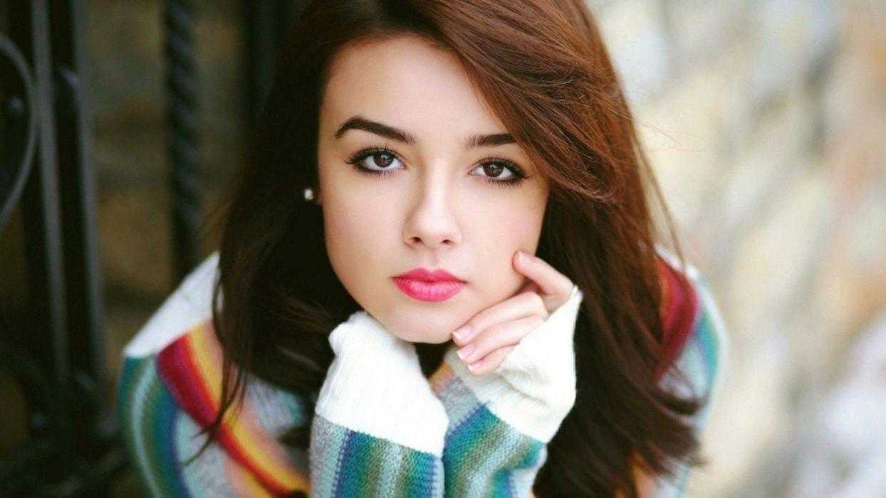 FACE - girl women brunette lips charming wallpaper