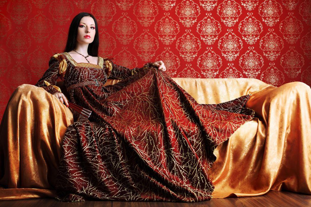madam woman girl brunette makeup couch wallpaper
