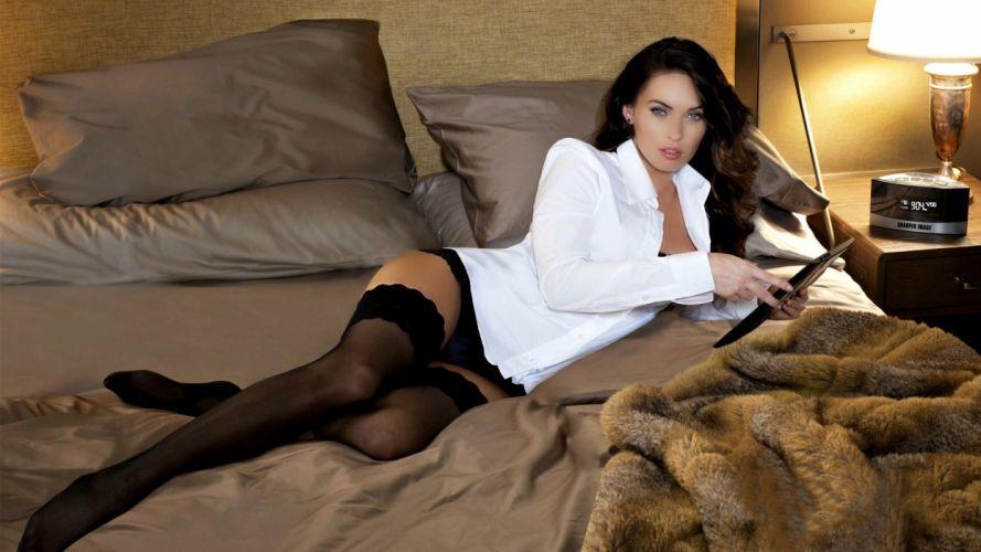 SENSUALITY - Megan Fox girl women actress legs stockings bed pillows wallpaper