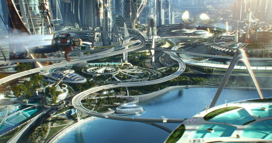 TOMORROWLAND action adventure mystery sci-fi fantasy disney 1tomorrow city cities astronaut wallpaper