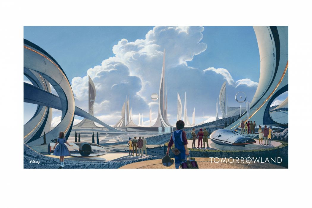 TOMORROWLAND action adventure mystery sci-fi fantasy disney 1tomorrow poster art artwork city cities wallpaper