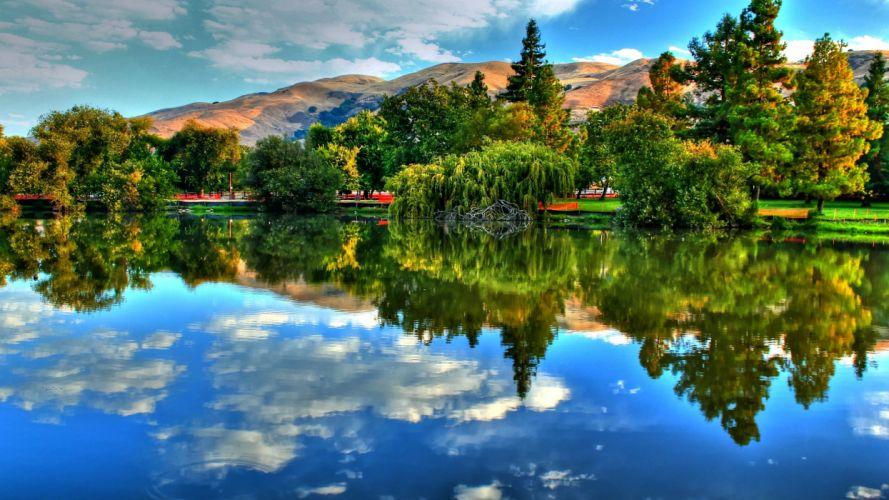 paisaje lago reflejos naturaleza wallpaper