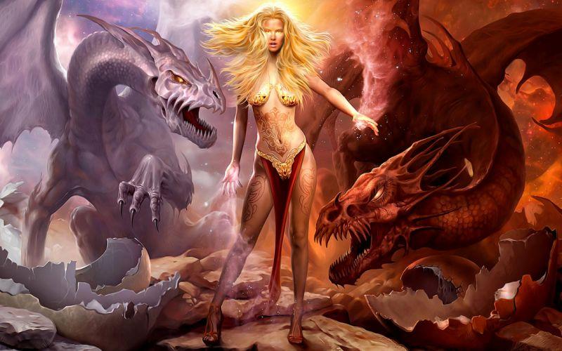 ARTS - 3D drawing fantasy girl women Lady Dragons tattoo wallpaper