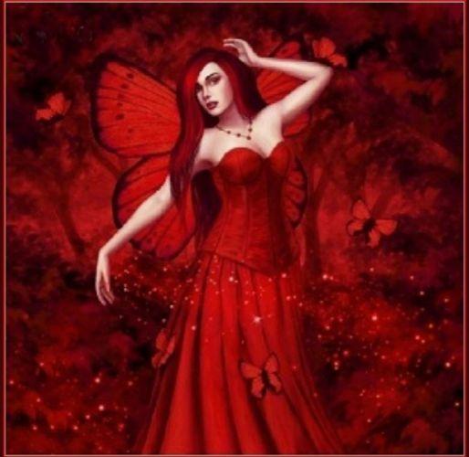 ARTS - 3D drawing fantasy girl women ruby fairy red wings butterflies wallpaper