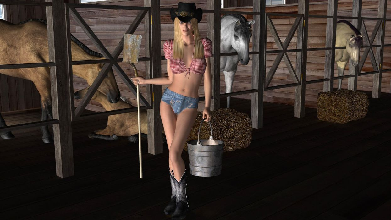 ARTS - 3D drawing girl women blonde cowgirl cleaning hat shovel hay wallpaper