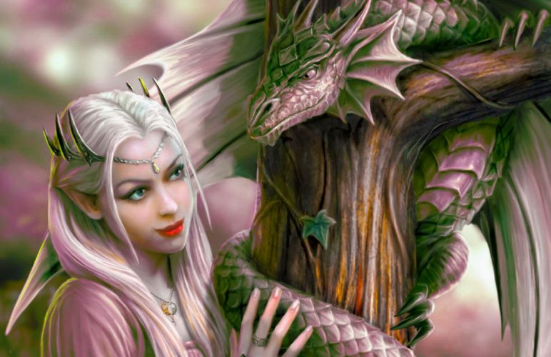 ARTS - fantasy dragon fairy lovely friends wallpaper