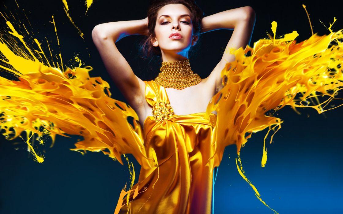 ARTS - girl women brunette yellow dress wallpaper