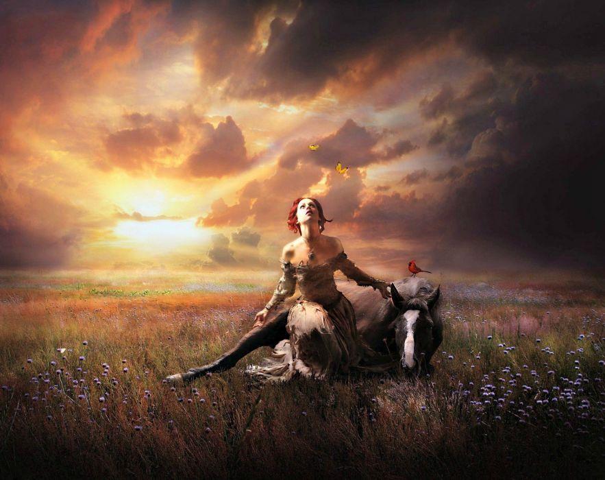 ARTS - fantasy guardian angel redhead meadow nature sky horse wallpaper