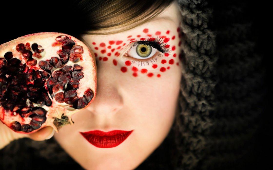 FACE - girl women blonde pomegranate wallpaper