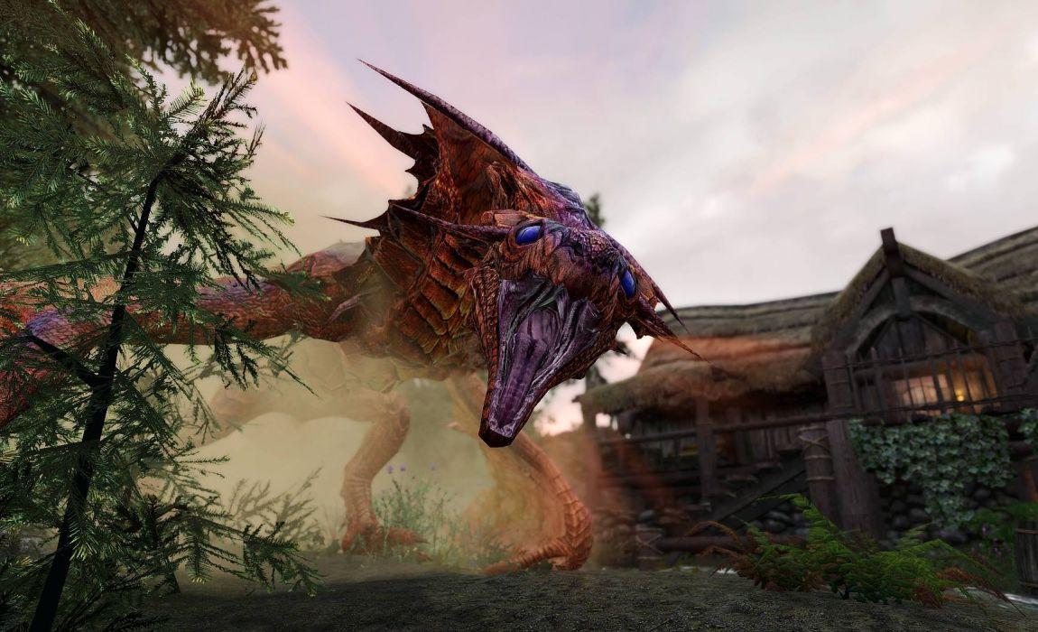GAMES - skyrim dragon blue eyes wallpaper