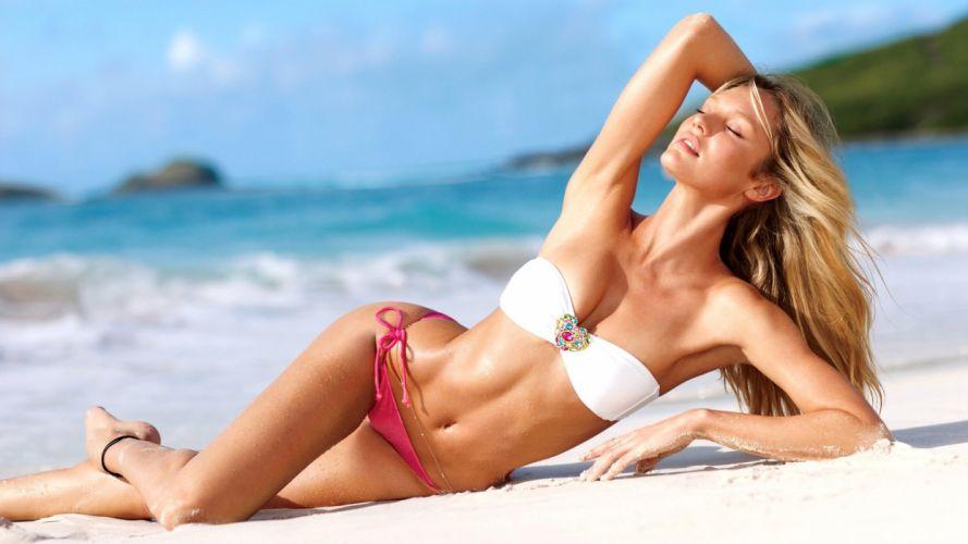 SENSUALITY - Candice Swanepoel girl women blonde swimsuit Victoria's Secret wallpaper