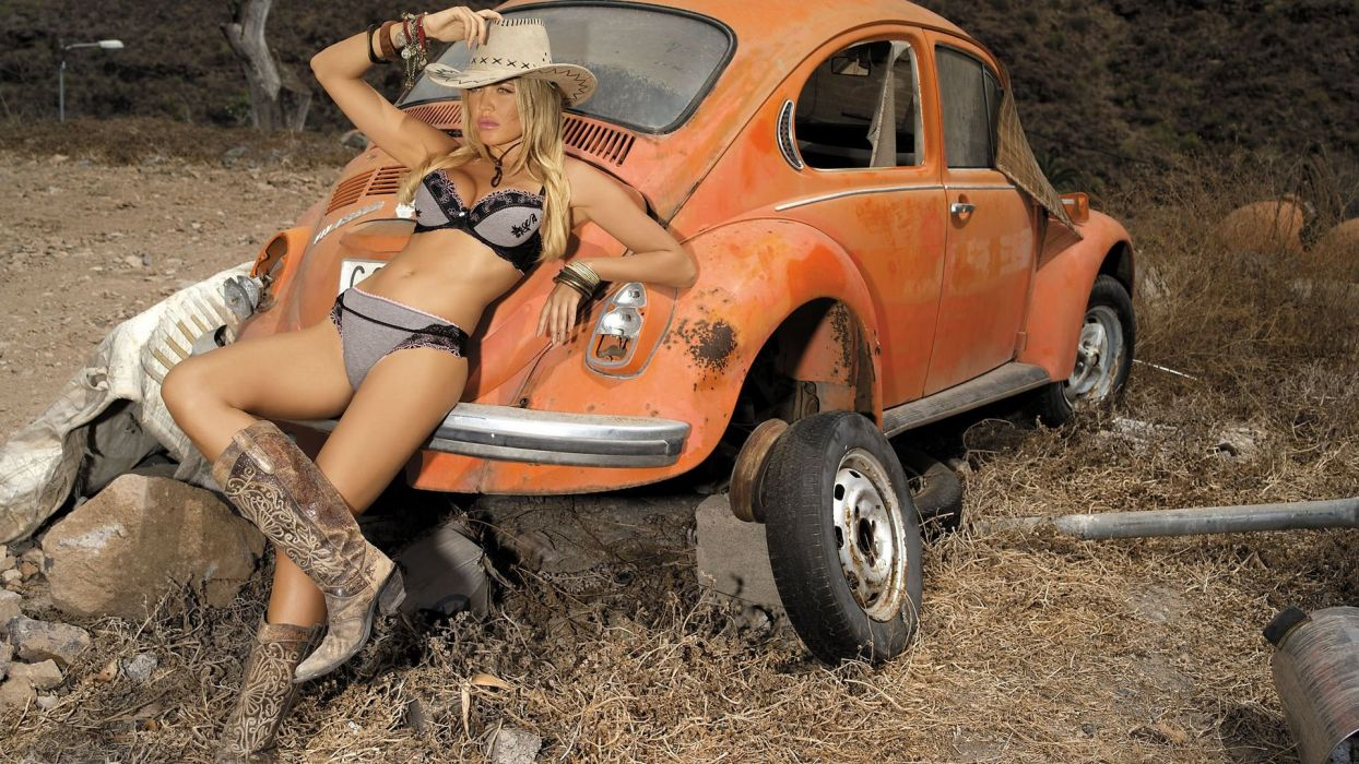 SENSUALITY - girl women blonde models cowgirl hat boots car country wallpaper