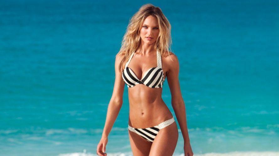 SENSUALITY - girl women blonde water bikini blue beach wallpaper