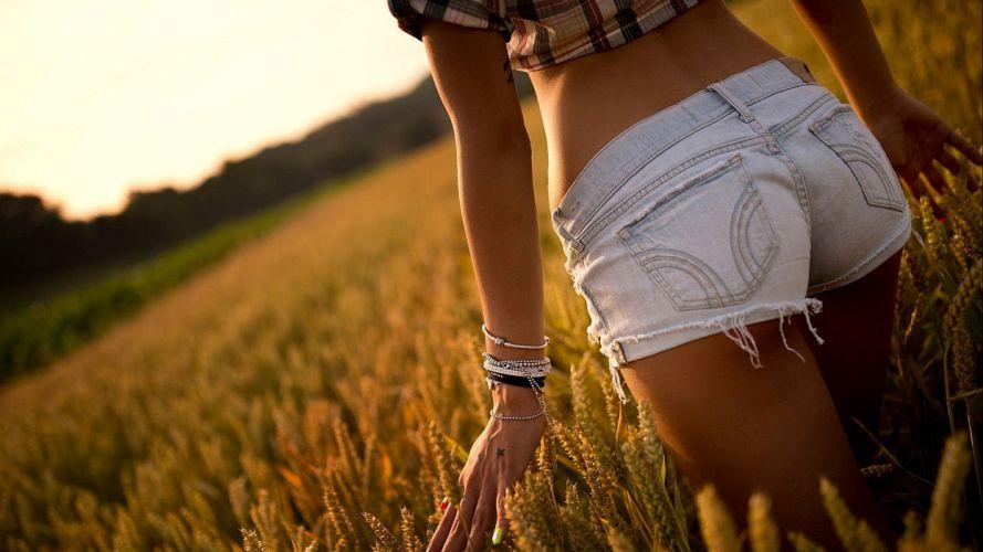 SENSUALITY - girl women brunette models short jeans hayfield ranch wallpaper