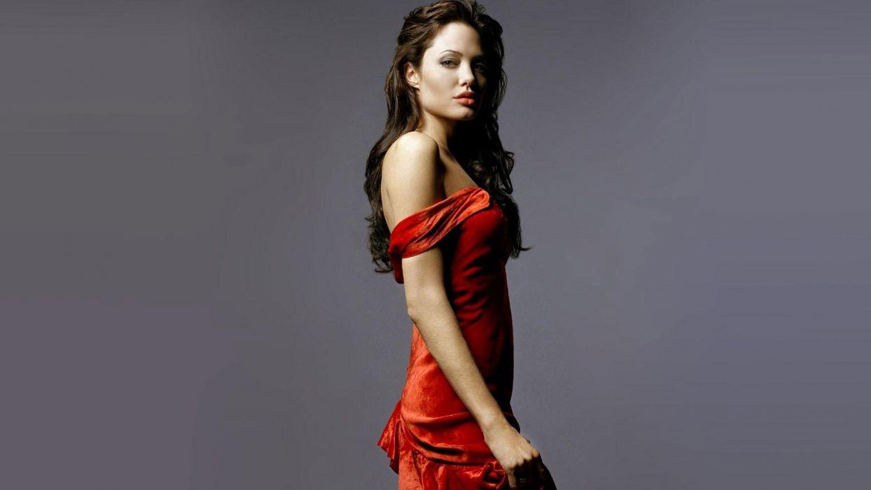 SENSULAITY - Angelina Jolie girl women brunette sexy red dress wallpaper