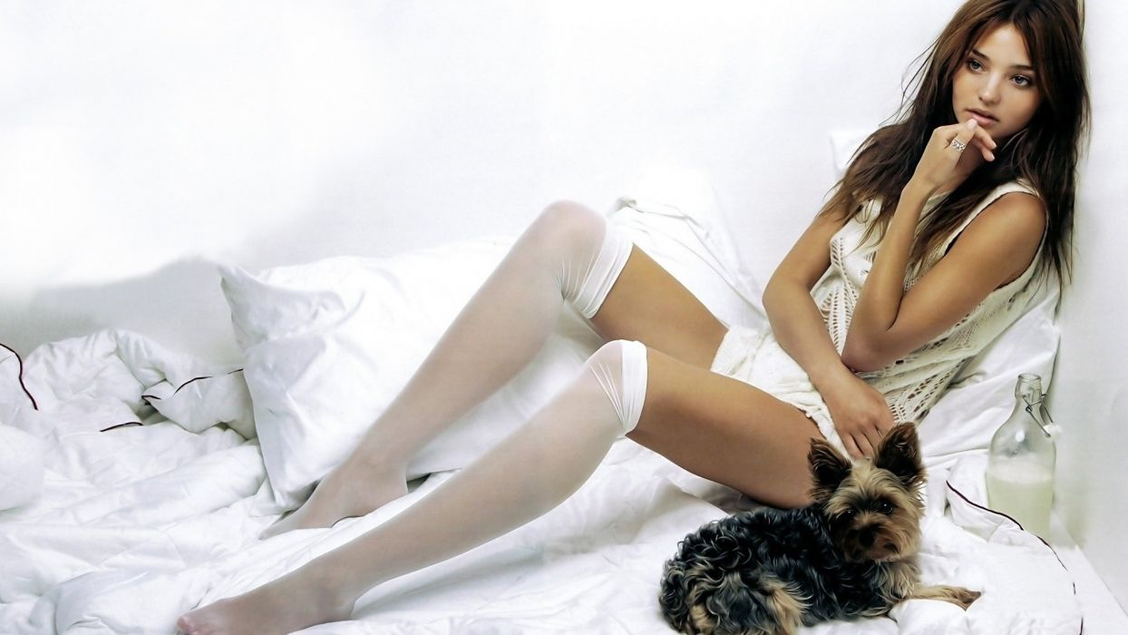 SENSULITY - Miranda Kerr girl women brunette stockings dog wallpaper