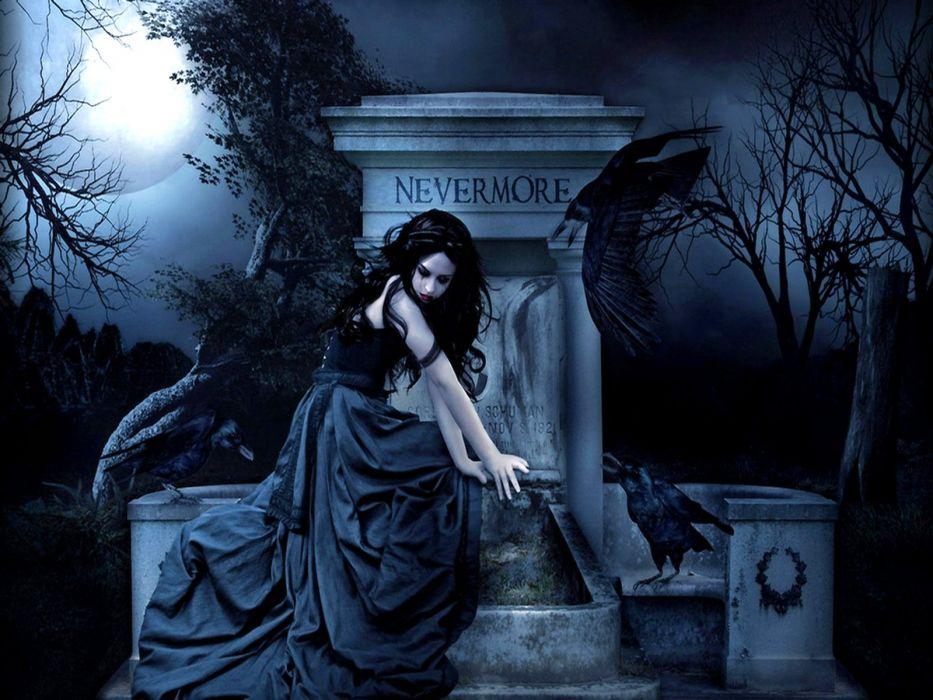 gothic girl ravens nevermore wallpaper
