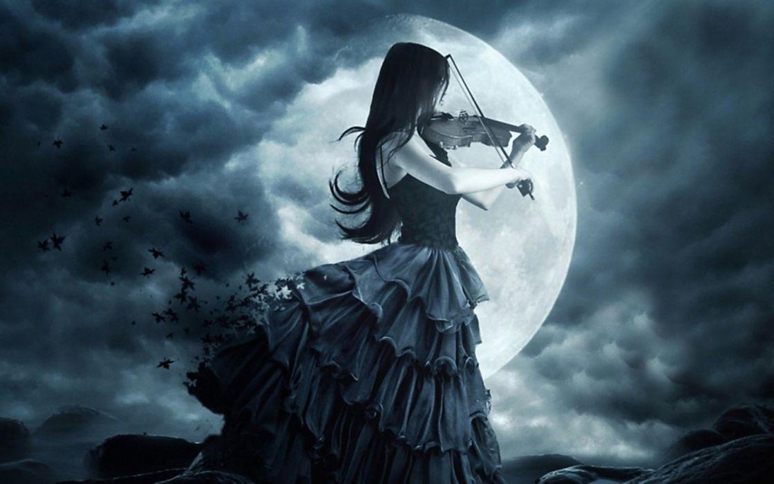gothic girl violin moon wallpaper