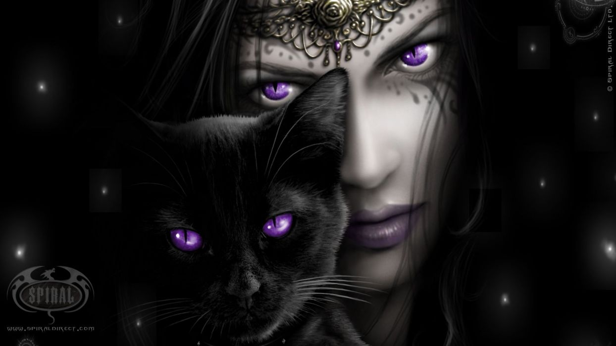 Witch Purple Eyes Black Cat Wallpaper 1920x1080 693690 Wallpaperup