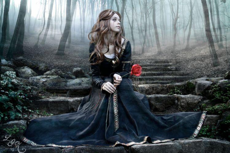 gotic girl rose wallpaper