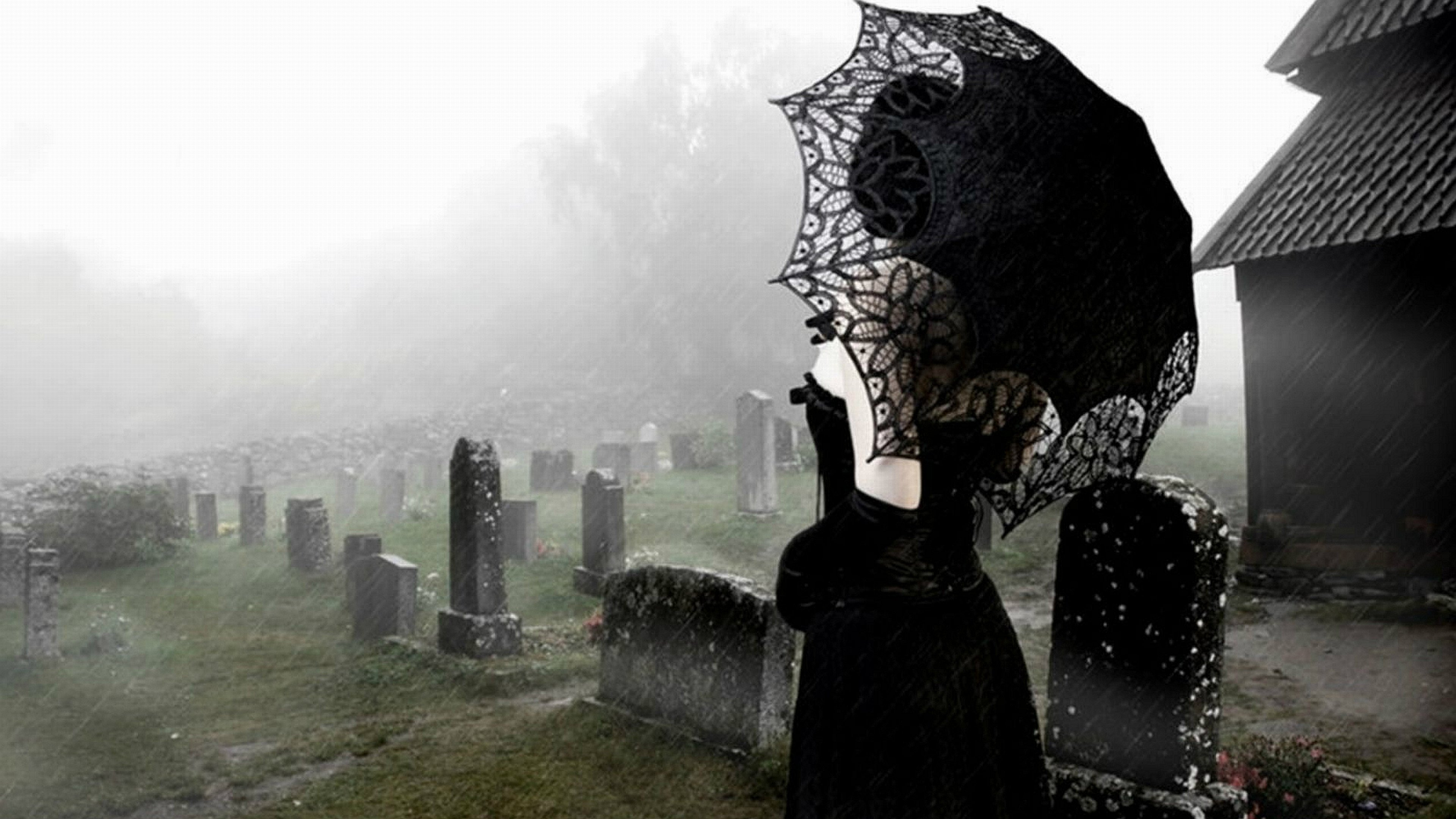 Gothic Girl Graveyard Wallpaper