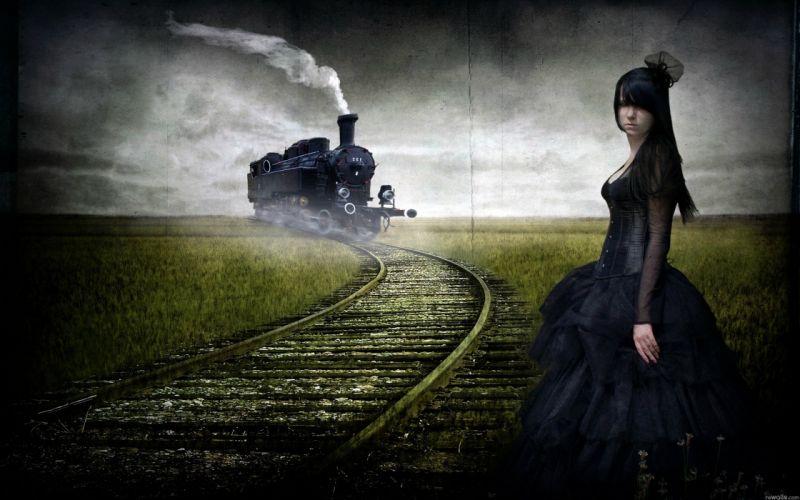 gothic girl train wallpaper