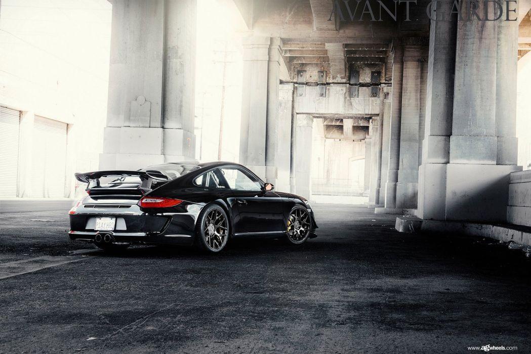 Porsche 997 Carrera black coupe cars tuning wheels wallpaper