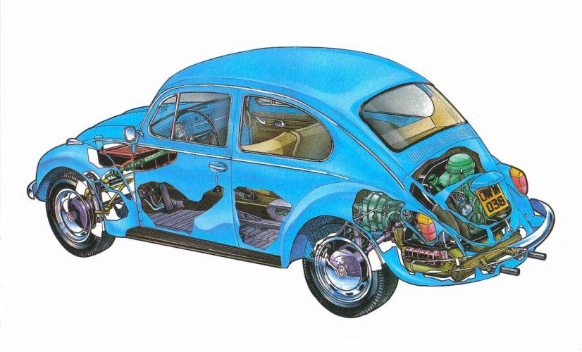 Volkswagen Beetle 1200 Technical Cars Cutaway Wallpaper
