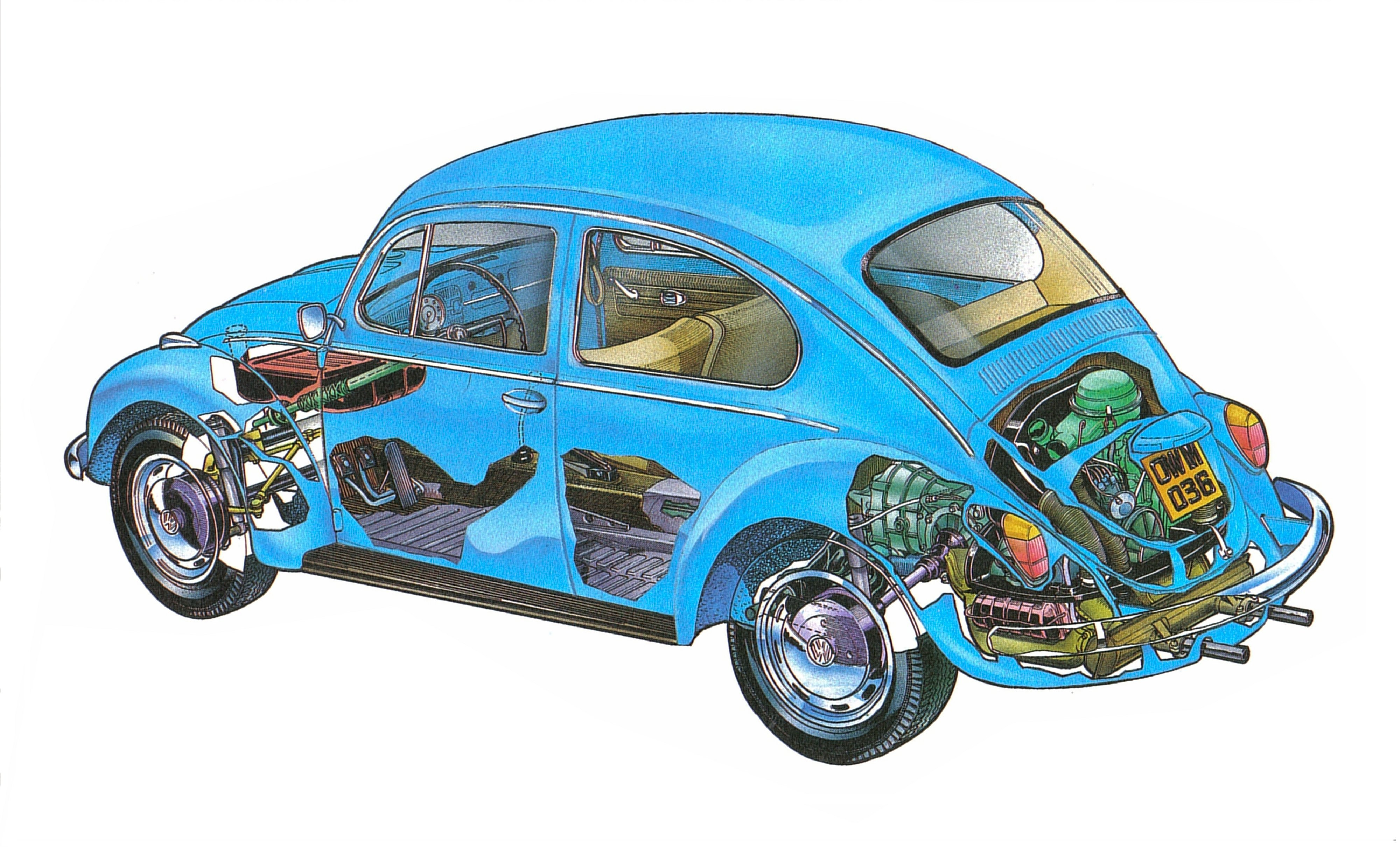 Volkswagen Beetle 1200 Technical Cars Cutaway Wallpaper
