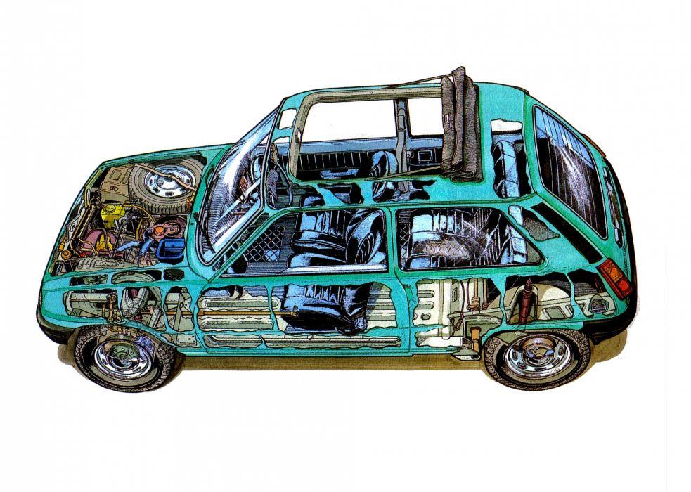 Renault-5 technical cars cutaway wallpaper