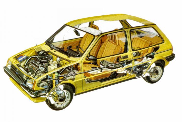 Austin Mini Metro technical cars cutaway wallpaper