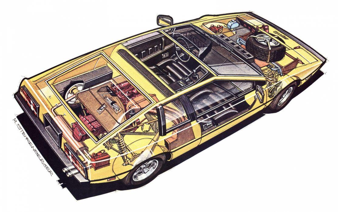 Lotus Esprit technical cars cutaway wallpaper