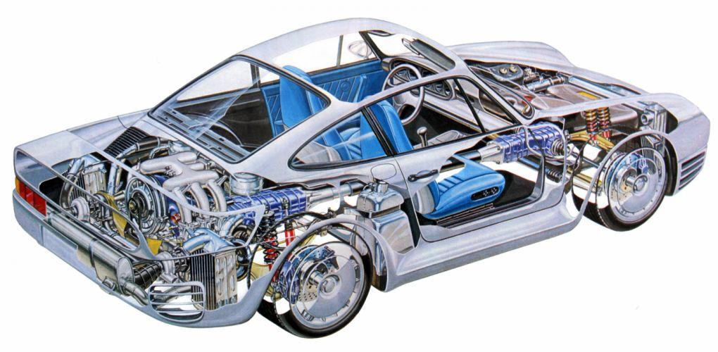 porsche 959 technical cars cutaway wallpaper