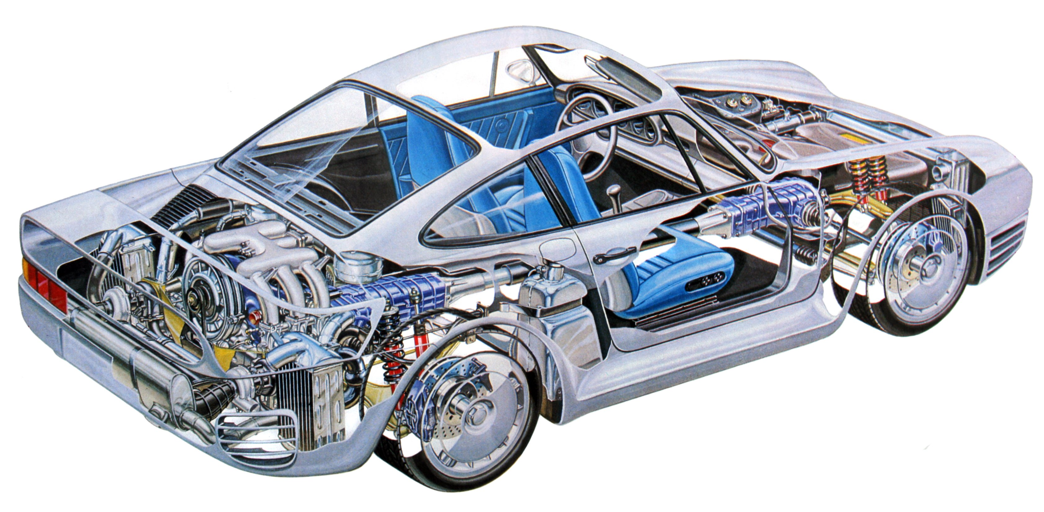 Porsche 959 Technical Cars Cutaway Wallpaper 3366x1650