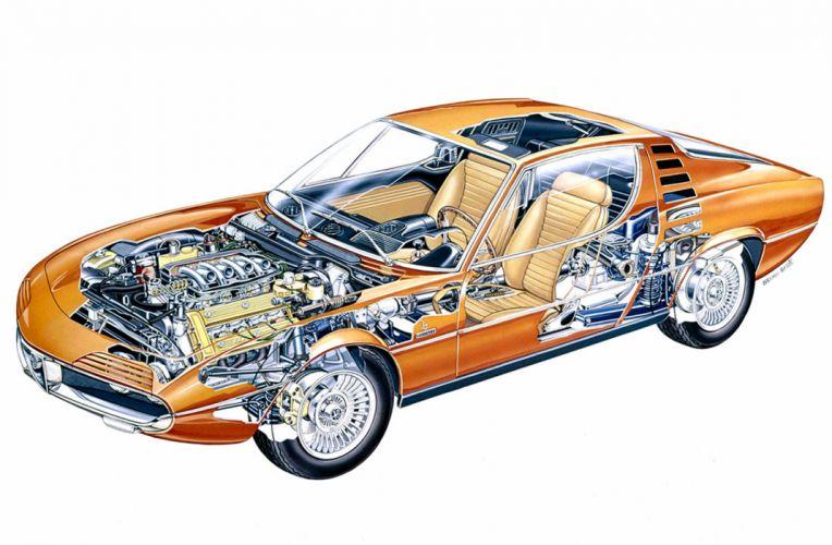Alfa Romeo Montreal technical cars cutaway wallpaper