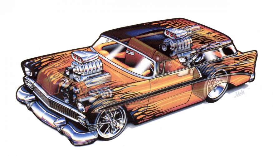 Chevrolet Nomad 1956 technical cars cutaway wallpaper