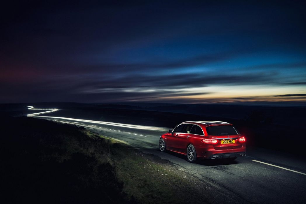 Mercedes AMG C63 Estate UK-spec S205 2015 cars wagon red wallpaper