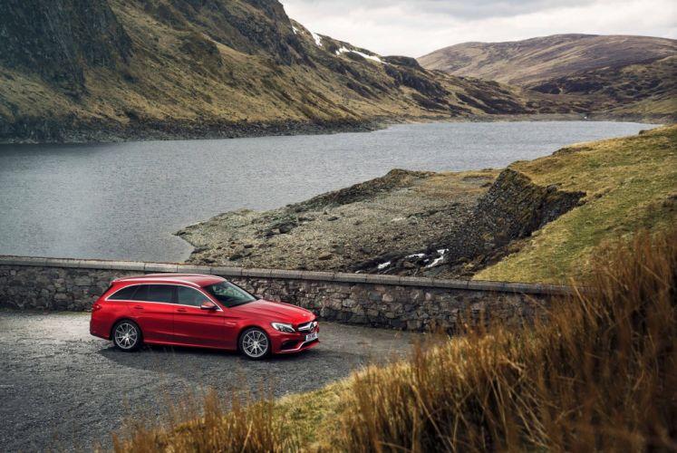 Mercedes AMG C63 Estate UK-spec S205 2015 cars wagon red wallpaper