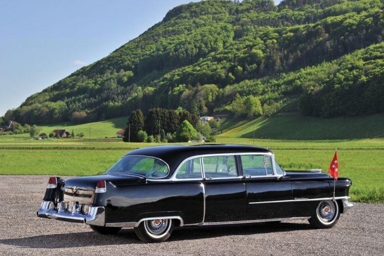 1955 Cadillac Fleetwood Seventy-Five black Presidential Limousine cars classic wallpaper