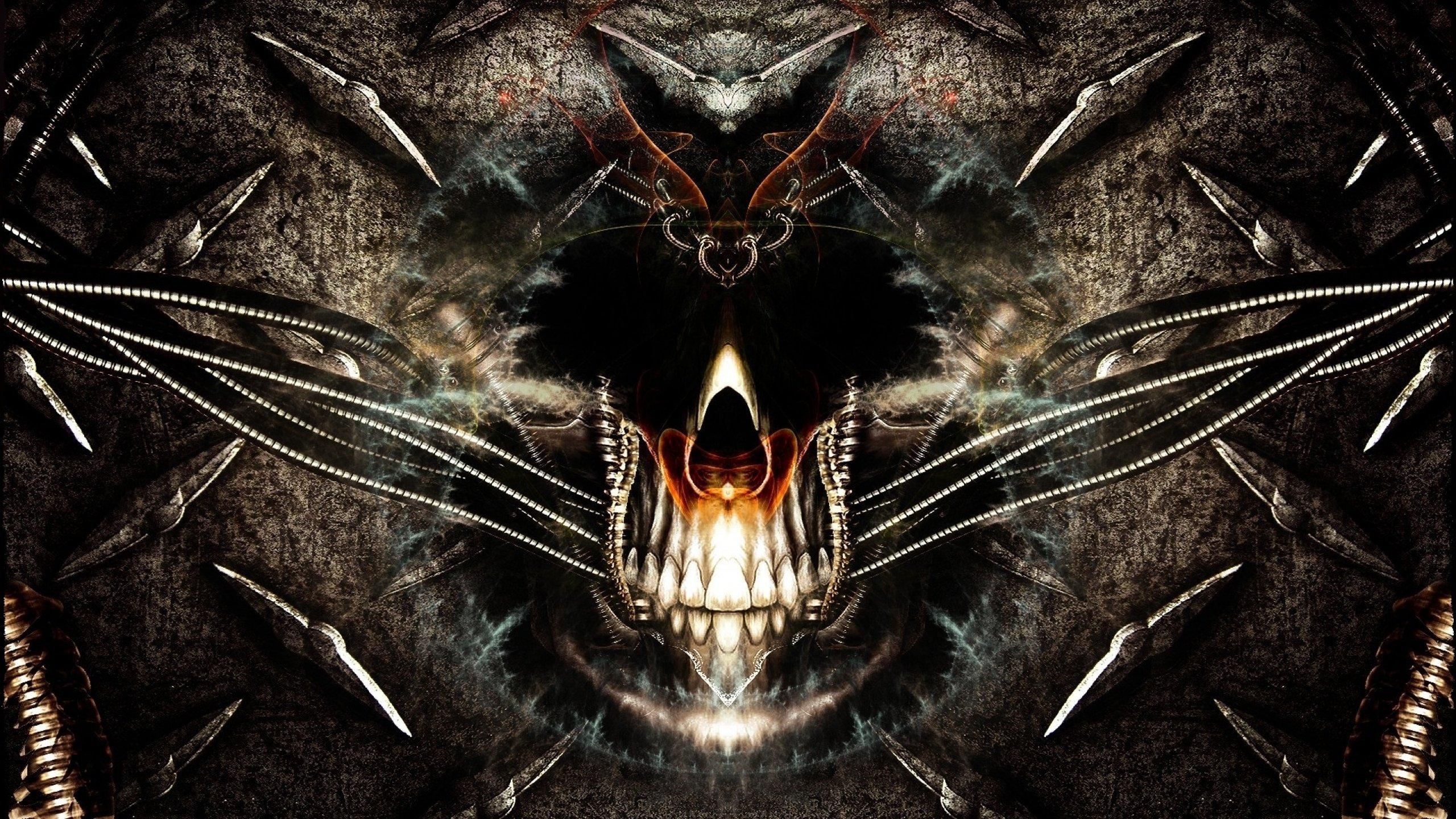 Dark skull evil horror skulls art artwork skeleton d - Scary skull backgrounds ...
