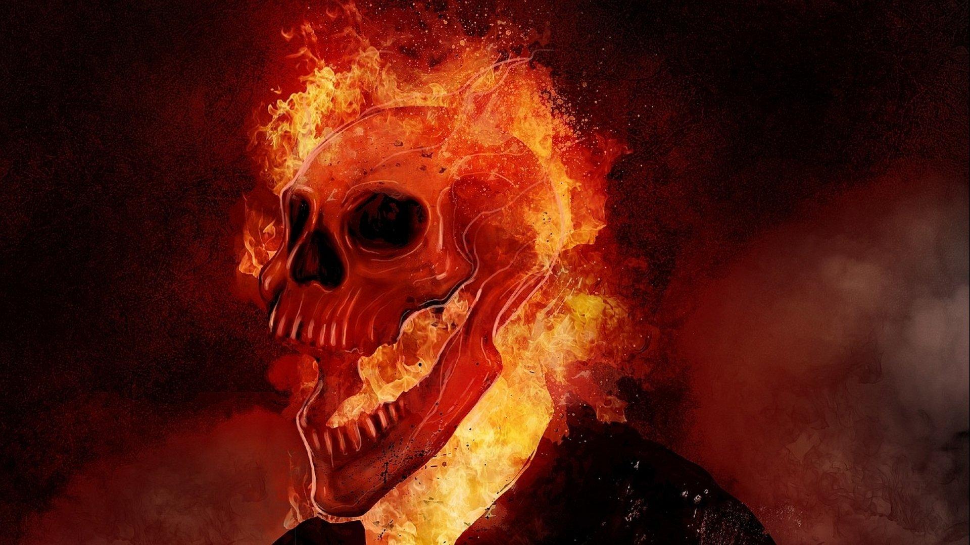 горящий скачать череп картинку