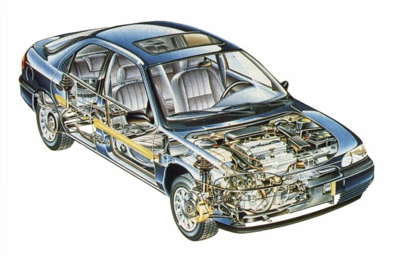 1993 Ford Mondeo CARS technical cutaway wallpaper