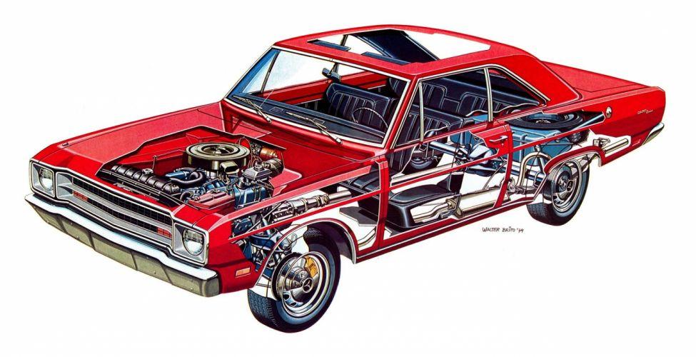 Dodge Dart Coupe De Luxe 1974 CARS technical cutaway wallpaper