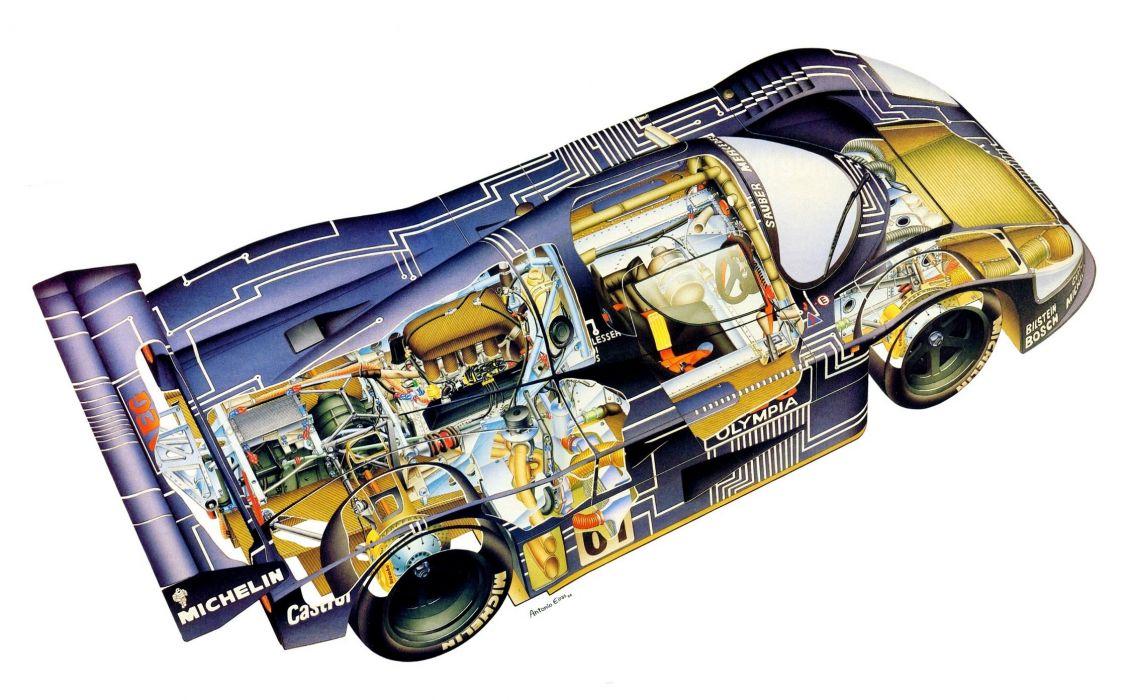 Sauber C9 Mercedes CARS technical cutaway wallpaper