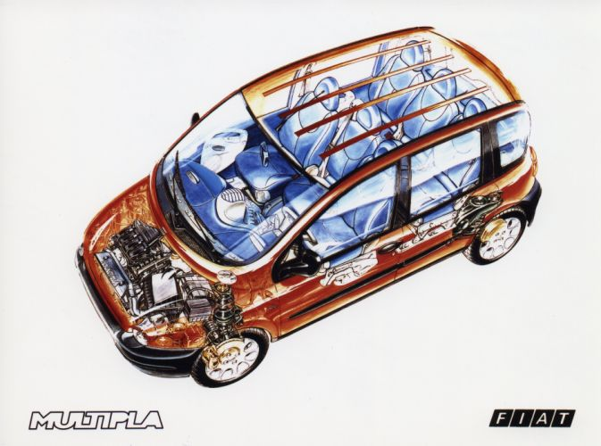 fiat multipla CARS technical cutaway wallpaper
