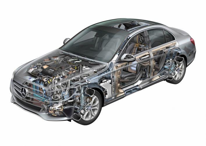 Mercedes Benz-C Class W205 cars technical cutaway wallpaper