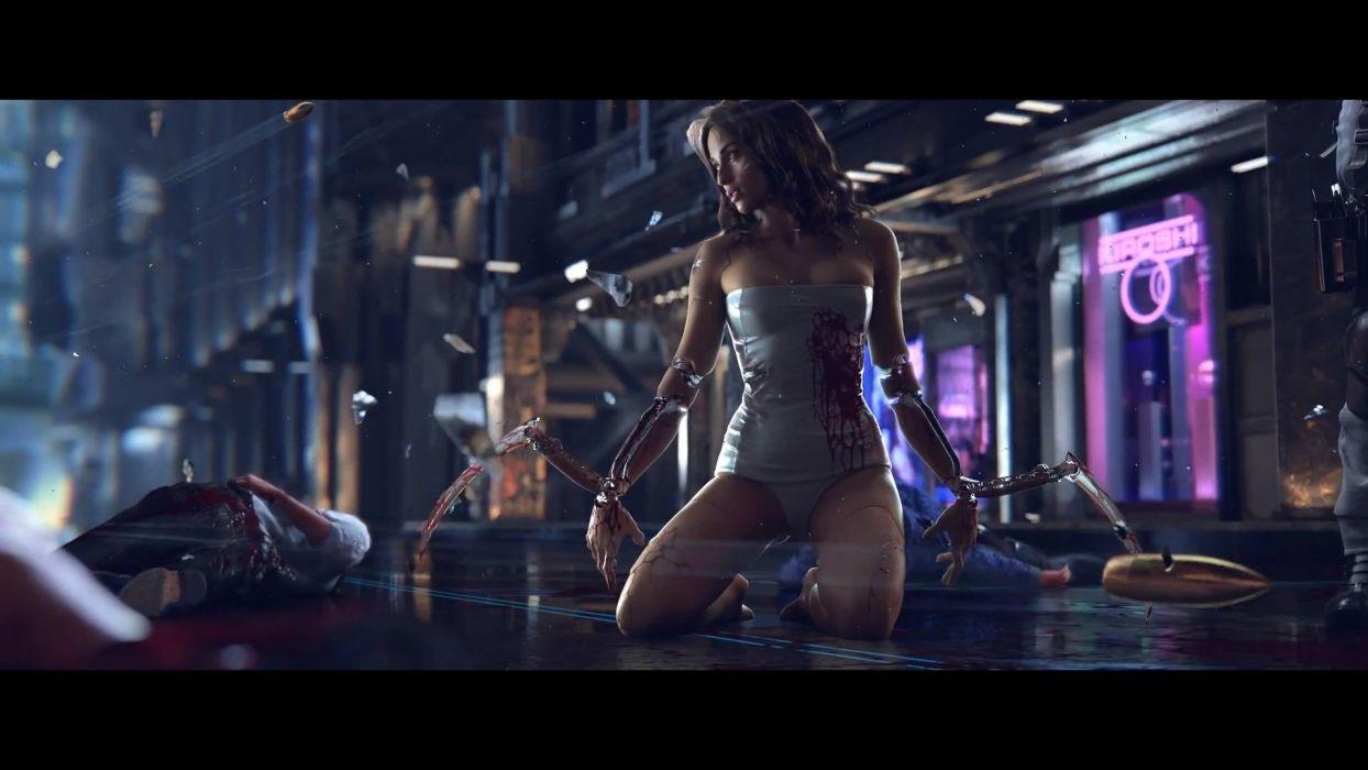 CYBERPUNK 2077 sci-fi futuristic action fighting rpg shooter cyborg robot f wallpaper