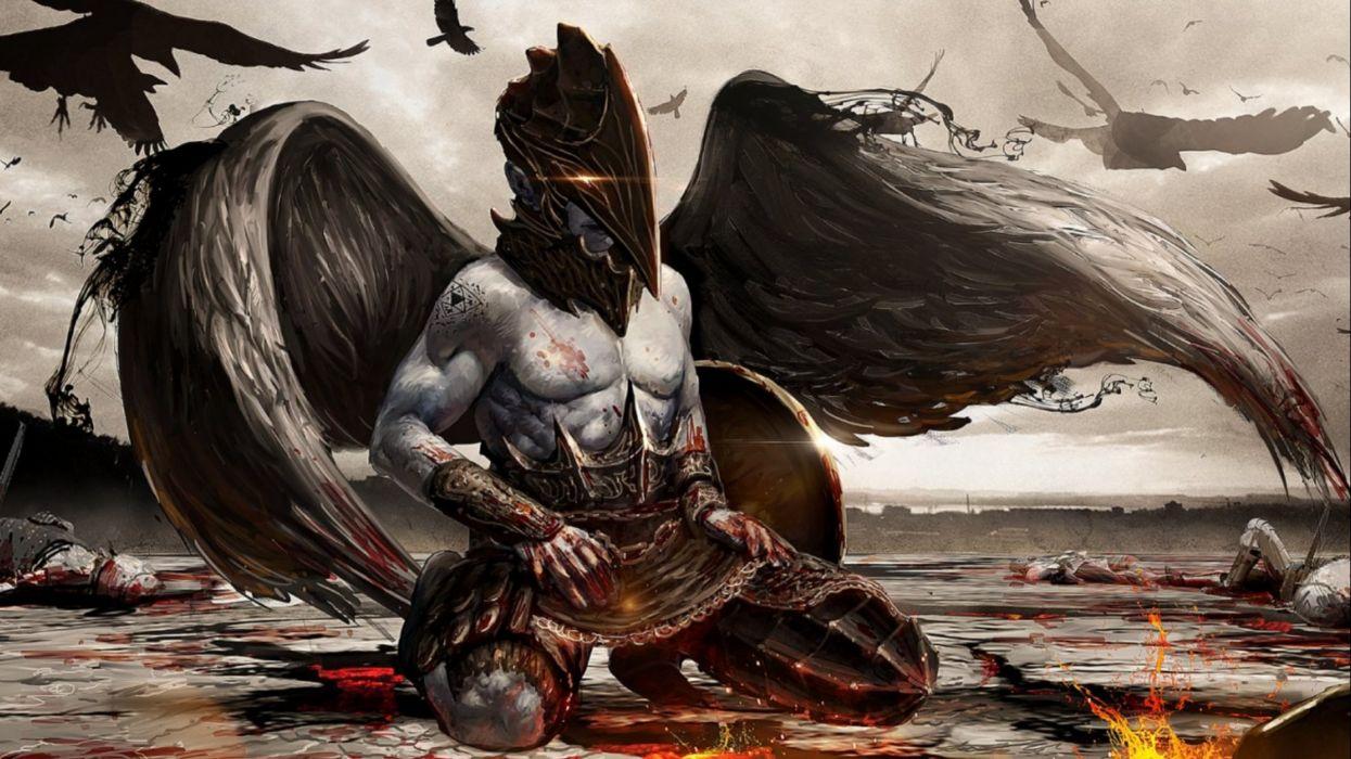 dark fantasy angel art artwork evil f wallpaper