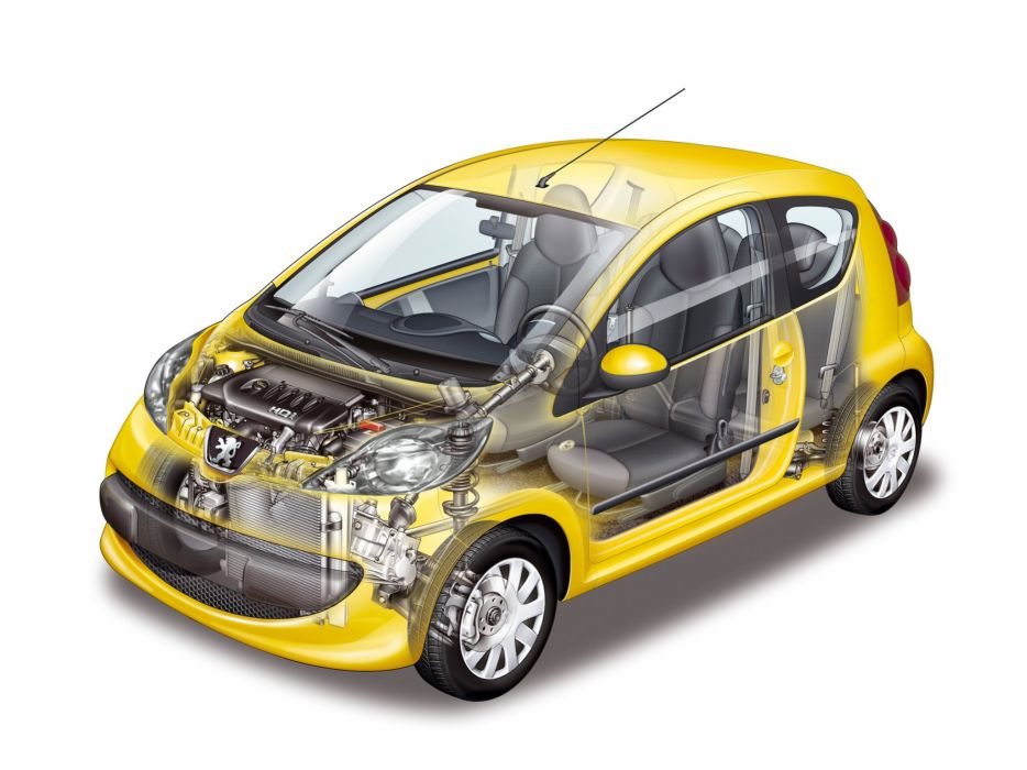 Peugeot 107 3-door 2005 cars cutaway wallpaper